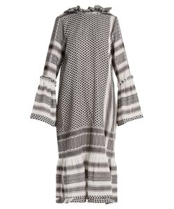 CECILIE COPENHAGEN | Tie-Neck Scarf-Jacquard Cotton Dress