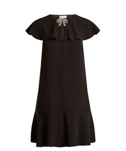 Red Valentino | Bow-Embellished Ruffled Crepe Dress