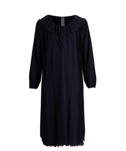 Raquel Allegra | Frayed-Hem Long-Sleeved Crepe Dress