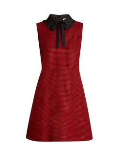Red Valentino | Tie-Neck Hounds-Tooth Wool Dress