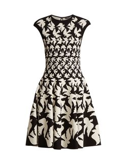 Alexander McQueen | Doves-Intarsia Sleeveless Flared-Skirt Dress