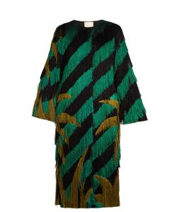 Marco De Vincenzo | Palm Tree-Fringed Collarless Coat