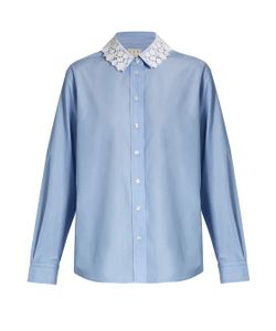 TRADEMARK   Lace-Collar Cotton-Poplin Shirt