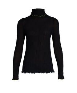 TRADEMARK   Contrast-Trim Roll-Neck Silk Sweater