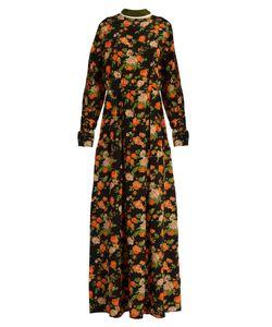 MSGM | Floral-Print Silk Maxi Dress