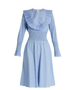 TRADEMARK   Pleated-Bib Smocked Cotton-Poplin Dress