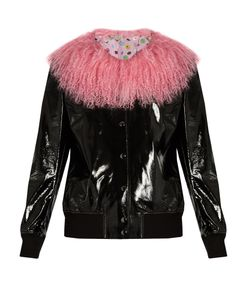 CHARLOTTE SIMONE | Va-Va Varsity Patent-Leather Jacket