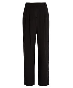 SERENA BUTE | Velvet-Back Silk Crepe De Chine Wide-Leg Trousers