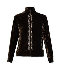 WALES BONNER | Oryema Embellished Velvet Zip-Through Top