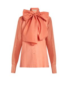 MAFALDA VON HESSEN | Neck-Tie Silk And Cotton-Poplin Blouse