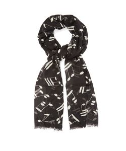 Saint Laurent | Musical Note-Print Wool Scarf