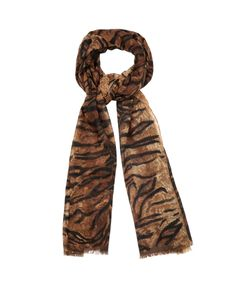 Saint Laurent | Tiger-Print Wool Scarf