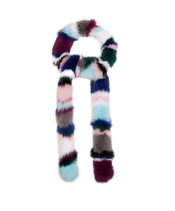 CHARLOTTE SIMONE | Rainbow Twist Striped Fur Scarf
