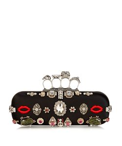 Alexander McQueen | Crystal-Embellished Satin Knuckle Clutch