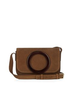 Saint Laurent | Eddie Tortoiseshell Suede Satchel Cross-Body Bag