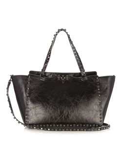 Valentino | Rockstud Rolling Cracked-Leather Tote
