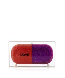 Sarah's Bag | Love Pill Glitter Perspex Clutch