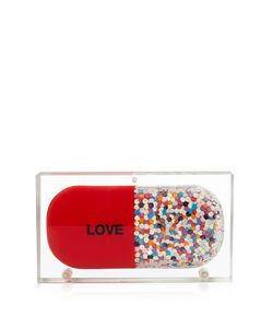 Sarah's Bag | Love Pill Confetti Perspex Clutch