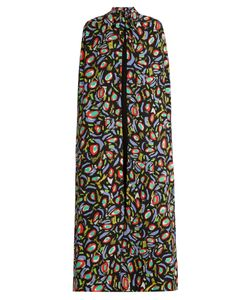 Duro Olowu | Abstract Bird-Print Crepe Long Cape