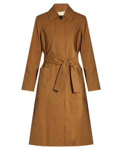 TRADEMARK   Tie-Waist Coated-Cotton Trench Coat