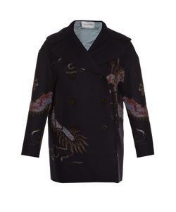 Valentino | Dragon-Embroidered Raw-Edge Pea Coat