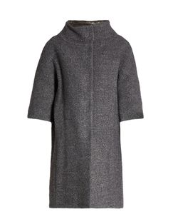 Herno | Detachable-Sleeved Funnel-Neck Bouclé Coat