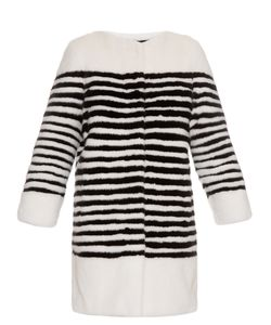 LILLY E VIOLETTA | Ferretti Striped Collarless Mink-Fur Coat
