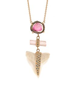 JACQUIE AICHE | Diamond Tourmaline Sharks-Tooth Necklace