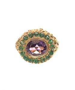 JADE JAGGER | Amethyst Emerald Plated Ring