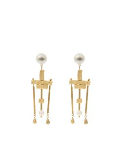 LUCY FOLK | Talking Heads Pearl Andplated Earrings