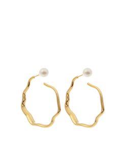 LUCY FOLK | Relic Hoop Pearl Andplated Earrings