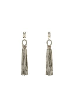 Oscar de la Renta | Crystal-Embellished Tassel-Drop Clip-On Earrings