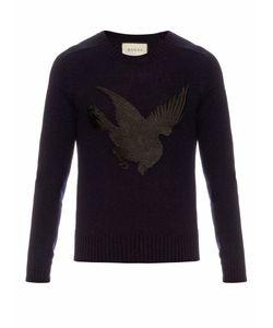 Gucci | Bird-Appliqué Wool And Cashmere-Blend Sweater