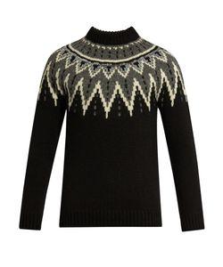 Saint Laurent | Zigzag-Intarsia Wool Sweater