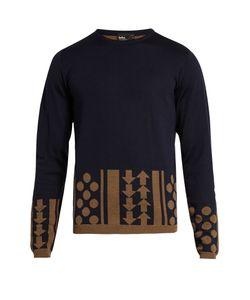 Kolor   Geometric-Intarsia Crew-Neck Wool Sweater