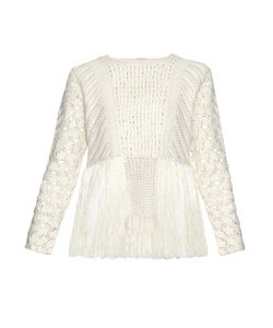 Adam Lippes | Fringed Crochet-Panel Sweater