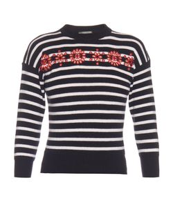 Alexander McQueen | Cut-Out Embroidered Striped Sweater
