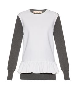 Marni | Long-Sleeved Wool-Blend Crepe And Knit Top
