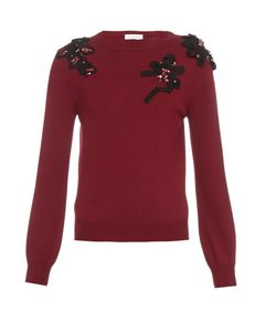 Oscar de la Renta | Embellished Crew-Neck Wool Sweater