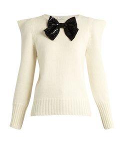Saint Laurent | Bow-Embellished Peak-Shoulder Sweater