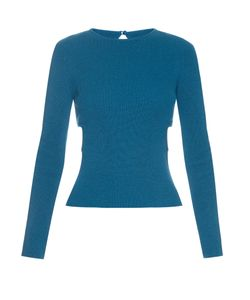 Emilia Wickstead | Heidi Cut-Out Sides Ribbed-Knit Sweater
