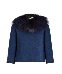 Sonia Rykiel | Detachable Fox-Fur Collar Tie-Back Sweater