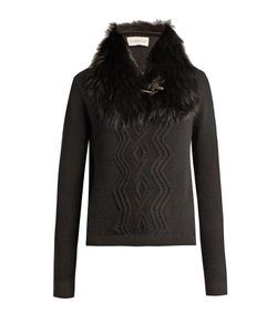 Moncler | Detachable Fur-Collar Wool-Blend Sweater