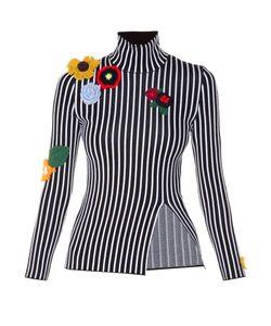 Christopher Kane | Crochet-Flower Embellished Striped Top