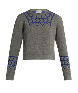 Kolor | Geometric-Intarsia Long-Sleeved Sweater