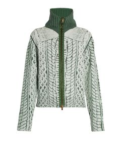 Maison Margiela | Cable-Knit Print Zip-Through Sweater