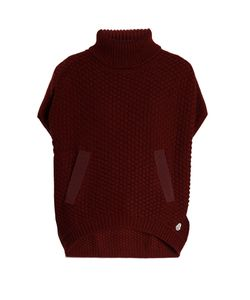 Moncler | Roll-Neck Logo-Appliqué Wool Poncho