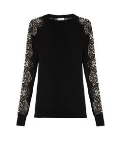 RAEY | Lace-Sleeve Cashmere Sweater