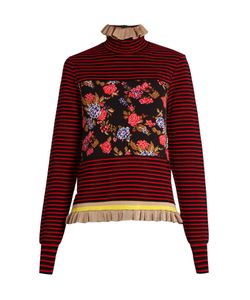 MSGM | Striped Ruffled-Hem Sweater