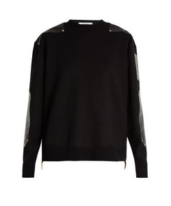 Givenchy | Crocodile-Effect Leather-Panel Wool Sweater